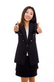 Happy Asian business woman showing thumb. Stock Photo