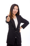 Happy Asian business woman showing thumb. Royalty Free Stock Photography