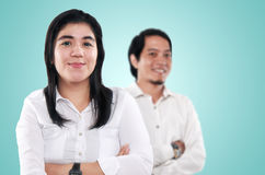 Happy Asian Businesswoman and Businessman Royalty Free Stock Images