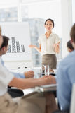 Happy asian businesswoman presenting bar chart to co workers Stock Image
