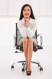 Happy asian businesswoman sitting chair Stock Photo