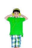 Happy asian child with headphones, Isolated on white background. Royalty Free Stock Photos