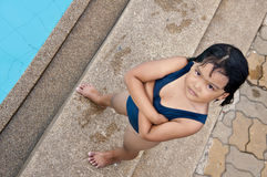 Happy asian child swiming. Happy child swiming outdoor in summer Stock Photos