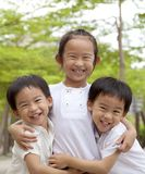 Happy asian children. And family Stock Image