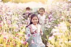 Happy asian children having fun to run and play together Royalty Free Stock Photos