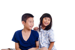 Happy Asian children isolated on white. Royalty Free Stock Photography