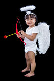 Happy Asian Chinese Little Angel WIth Bow And Arrow Royalty Free Stock Photography