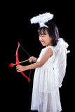 Happy Asian Chinese Little Angel WIth Bow And Arrow Royalty Free Stock Photos
