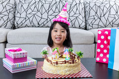 Happy Asian Chinese little girl with celebrating birthday Stock Photography