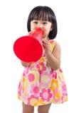 Happy Asian Chinese little girl holding retro loudspeaker Royalty Free Stock Photo