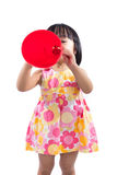 Happy Asian Chinese little girl holding retro loudspeaker Royalty Free Stock Photos