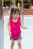 Happy Asian Chinese Little Girl Take A Shower Royalty Free Stock Photography
