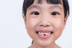 Happy Asian Chinese little girl with toothless smile. In isolated white background Stock Photography