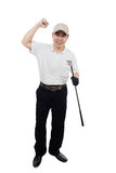 Happy Asian Chinese Male Golfer showing victory gesture Royalty Free Stock Image