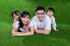 Happy Asian Chinese parents and daughters lying on the grass. At outdoor park royalty free stock photography