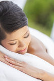 Happy Asian Chinese Woman Relaxing Health Spa Stock Photos