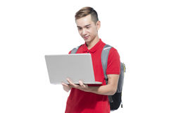 Happy Asian College Student Holding Laptop on Isolated White Bac. Kground Royalty Free Stock Image
