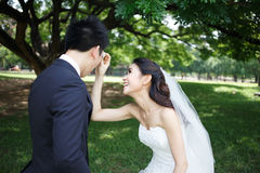 Happy asian couple in wedding dress in a green park Royalty Free Stock Photos