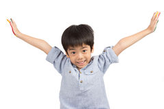 Happy asian cute boy extend his arms with smiling Royalty Free Stock Photography