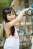Happy asian cute Girl playing on playground. Happy asian cute Girl is playing on playground Stock Images