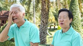Happy Asian elderly couple laugh together in green natural park Stock Photo