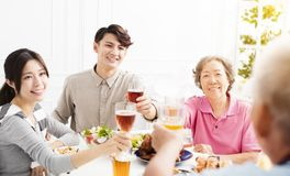 Asian family having dinner together. Happy asian family having dinner together Stock Images