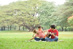 Happy Asian family having fun. Happy young Asian family with their daughter having fun in nature at park outdoor stock images