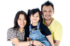 Happy Asian family  - isolated over white Stock Photo
