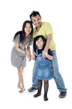 Happy Asian family  - isolated over white Stock Images