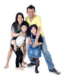 Happy Asian family  - isolated over white Stock Image