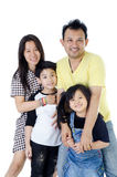 Happy Asian family  - isolated over white Royalty Free Stock Photos
