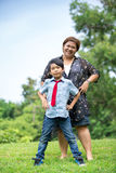 Happy Asian family ,mother with her son at park Royalty Free Stock Images