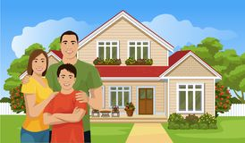 Happy Asian family and house stock illustration