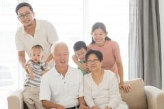 Asian multi generations family portrait royalty free stock image