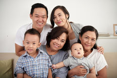 Happy Asian Family Posing Together Stock Photos