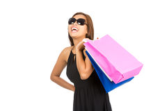 Happy Asian Female Shopper Bags Laughing Isolated Royalty Free Stock Photo