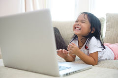 Happy Asian Girl. Using Laptop Happy Learning Stock Image