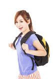 Happy asian girl with backpack. Isolated Stock Image