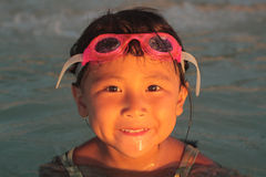 Happy Asian Girl on Beach royalty free stock photography