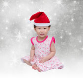 Happy asian girl with christmas hat Stock Photo
