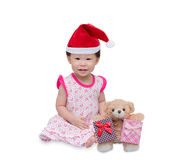 Happy asian girl with christmas hat Royalty Free Stock Photography