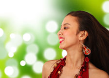 Happy Asian Girl In The Countryside Stock Photography