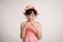 Happy asian girl hand holding melon Royalty Free Stock Images