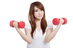 Happy Asian girl hold dumbbells with both hand Stock Image