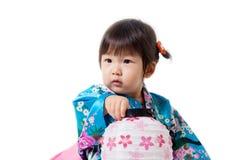 Happy asian girl holding a lantern japan. Royalty Free Stock Image