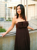 Happy Asian Girl Lean On Handtrail Outdoor Royalty Free Stock Images