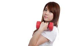 Happy Asian girl lift dumbbell look at camera Stock Photos