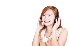 Happy Asian girl listen to music Royalty Free Stock Image