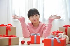 Happy Asian girl smiling and celebrating. Stock Images