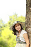 Happy asian girl smiling in the park Stock Photography